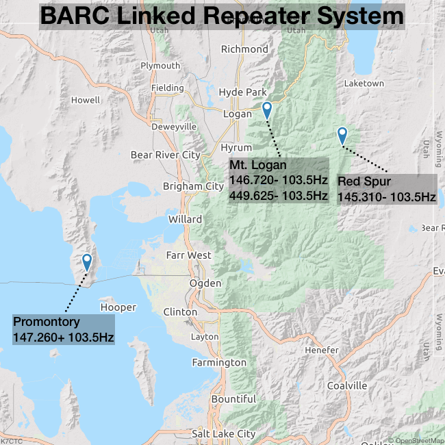 BARC Linked Repeater System Map